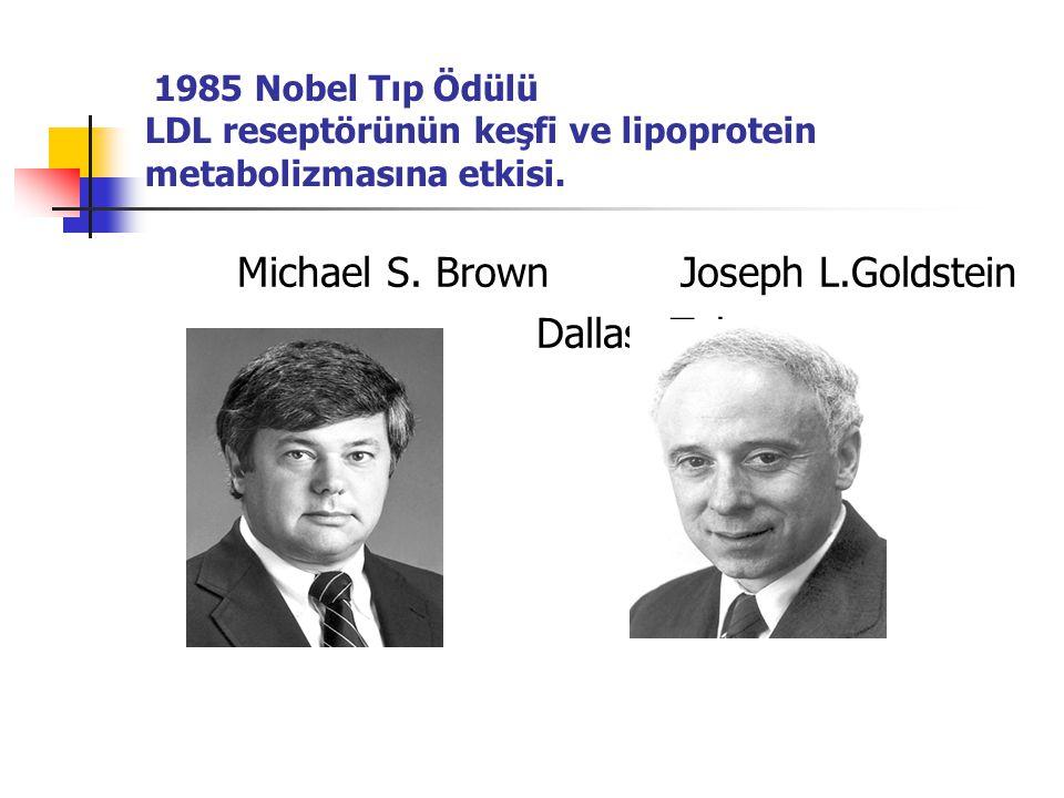 1985 Nobel Tıp Ödülü LDL reseptörünün keşfi ve lipoprotein metabolizmasına etkisi. Michael S. Brown Joseph L.Goldstein Dallas, Teksas