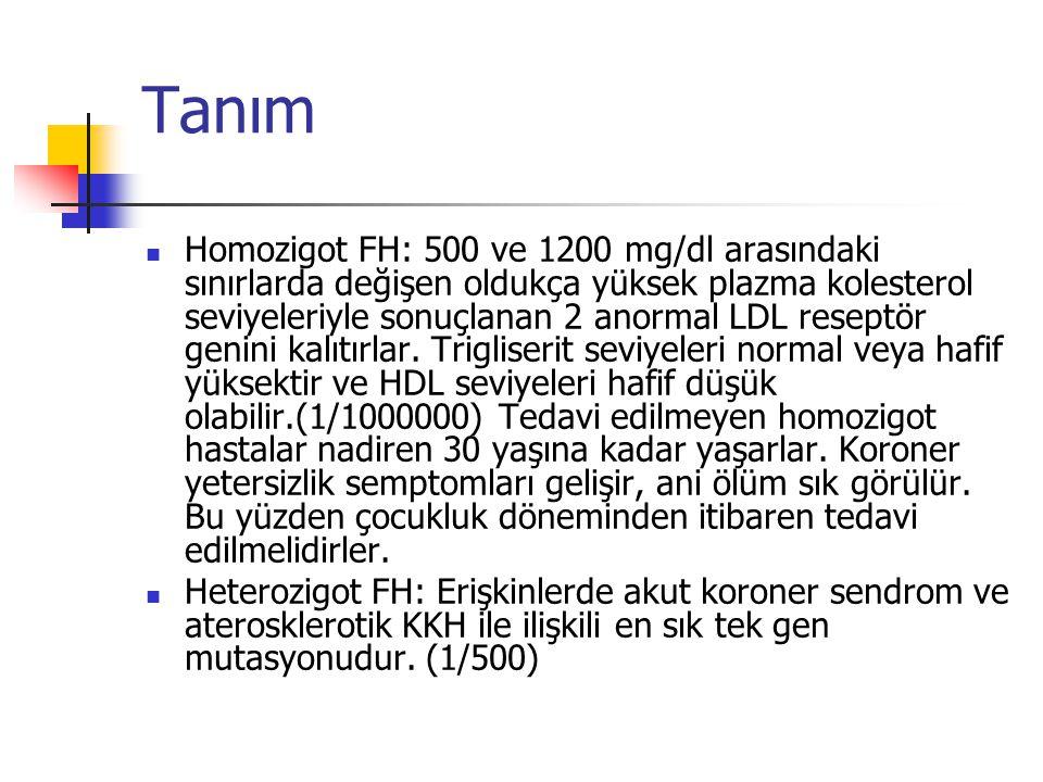 Tanım Homozigot FH: 500 ve 1200 mg/dl arasındaki sınırlarda değişen oldukça yüksek plazma kolesterol seviyeleriyle sonuçlanan 2 anormal LDL reseptör g