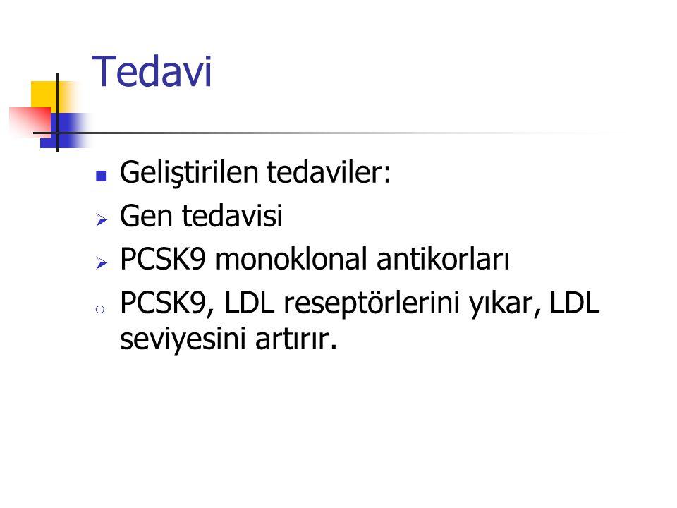 Tedavi Geliştirilen tedaviler:  Gen tedavisi  PCSK9 monoklonal antikorları o PCSK9, LDL reseptörlerini yıkar, LDL seviyesini artırır.