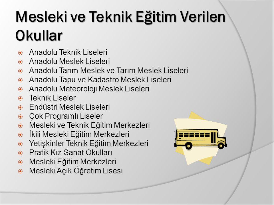 Mesleki ve Teknik Eğitim Verilen Okullar  Anadolu Teknik Liseleri  Anadolu Meslek Liseleri  Anadolu Tarım Meslek ve Tarım Meslek Liseleri  Anadolu
