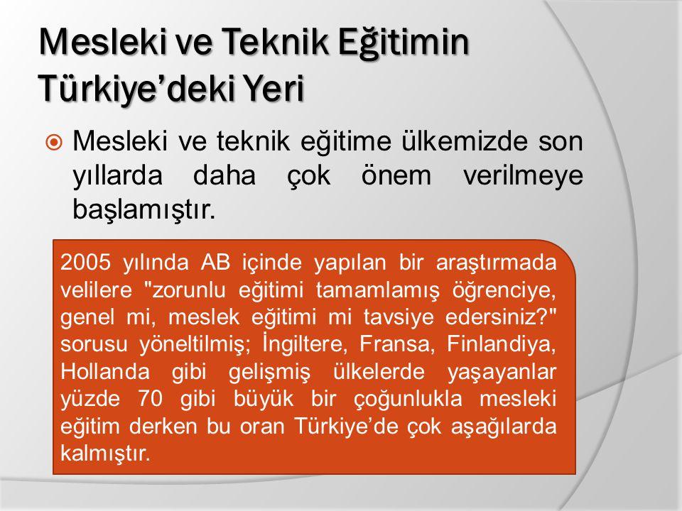 Mesleki ve Teknik Eğitimin Türkiye'deki Yeri  Mesleki ve teknik eğitime ülkemizde son yıllarda daha çok önem verilmeye başlamıştır. 2005 yılında AB i