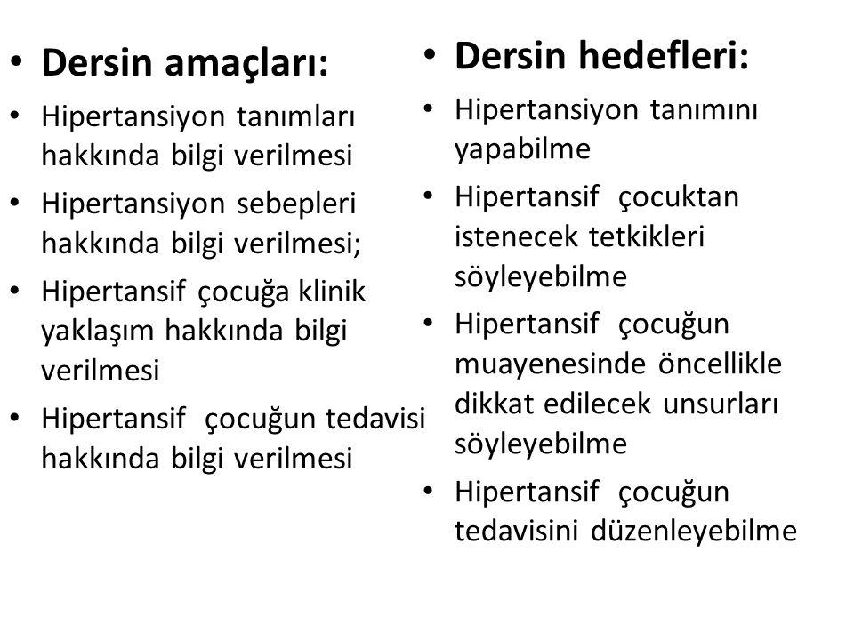 Dersin amaçları: Hipertansiyon tanımları hakkında bilgi verilmesi Hipertansiyon sebepleri hakkında bilgi verilmesi; Hipertansif çocuğa klinik yaklaşım