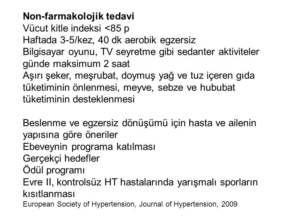 Non-farmakolojik tedavi Vücut kitle indeksi <85 p Haftada 3-5/kez, 40 dk aerobik egzersiz Bilgisayar oyunu, TV seyretme gibi sedanter aktiviteler günd