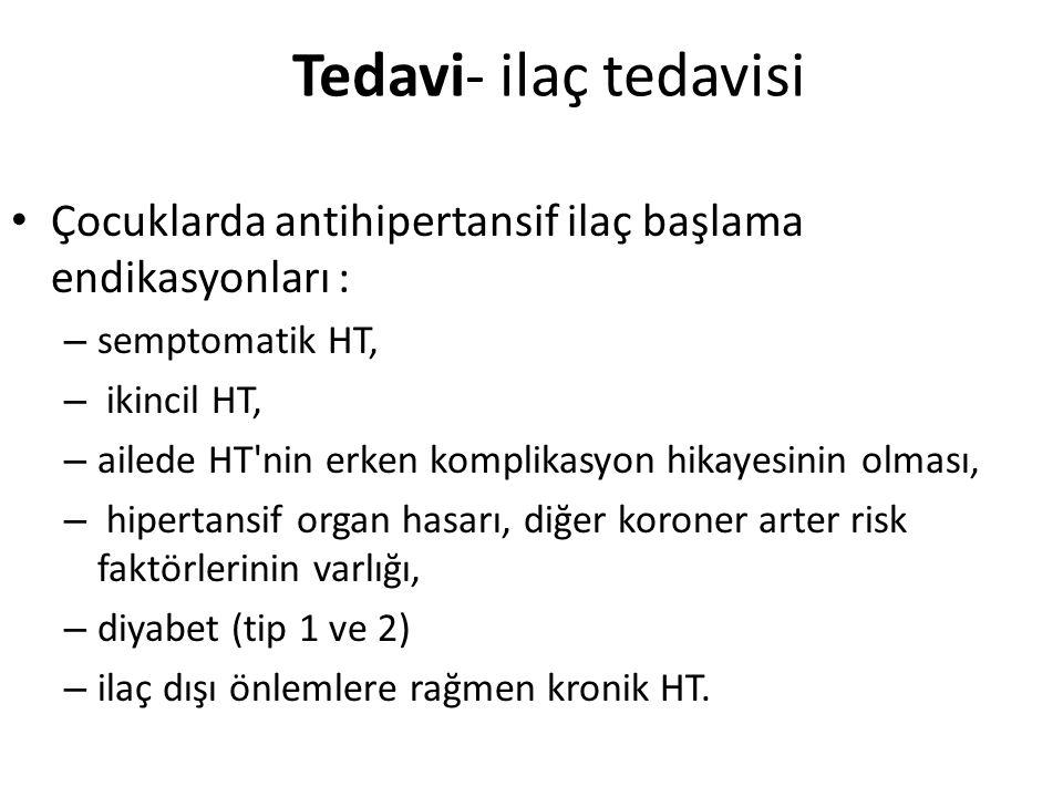 Tedavi- ilaç tedavisi Çocuklarda antihipertansif ilaç başlama endikasyonları : – semptomatik HT, – ikincil HT, – ailede HT'nin erken komplikasyon hika