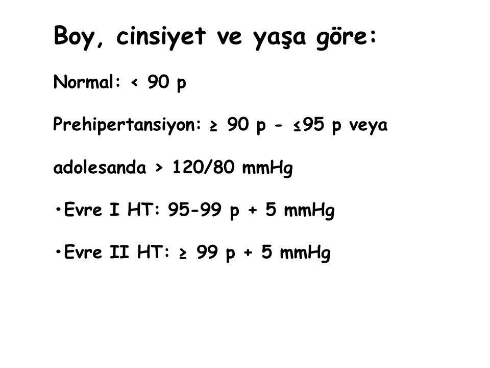 Boy, cinsiyet ve yaşa göre: Normal: < 90 p Prehipertansiyon: ≥ 90 p - ≤95 p veya adolesanda > 120/80 mmHg Evre I HT: 95-99 p + 5 mmHg Evre II HT: ≥ 99
