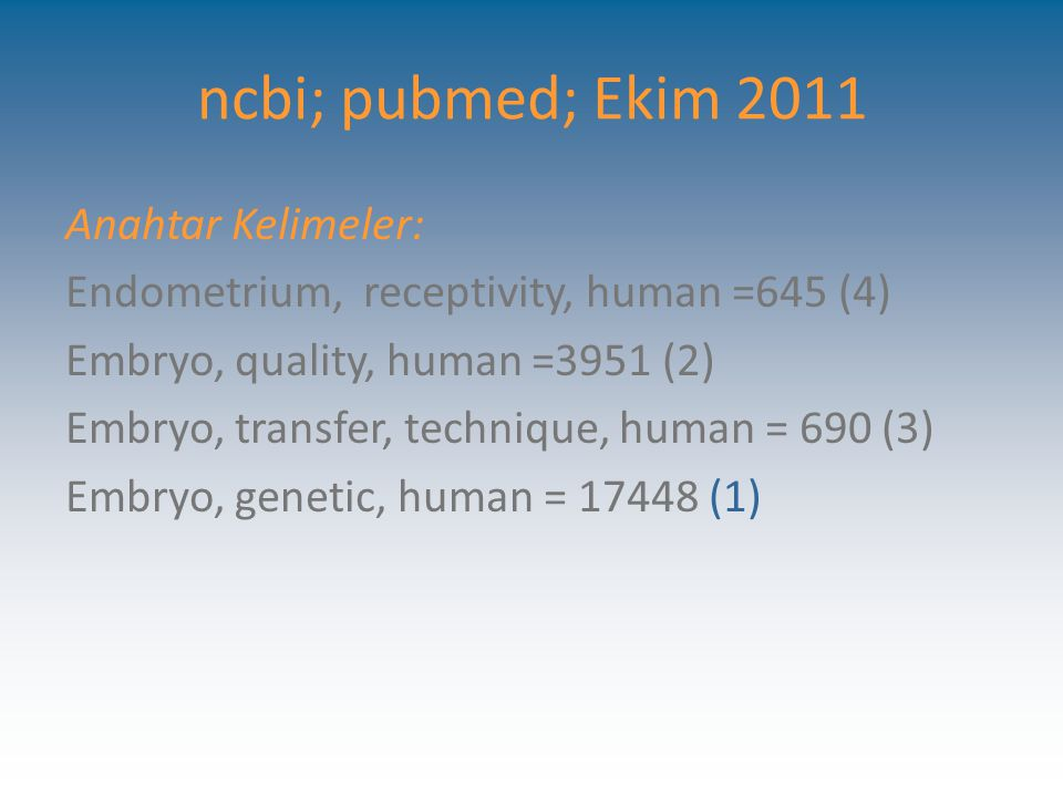 ncbi; pubmed; Ekim 2011 Anahtar Kelimeler: Endometrium, receptivity, human =645 (4) Embryo, quality, human =3951 (2) Embryo, transfer, technique, huma