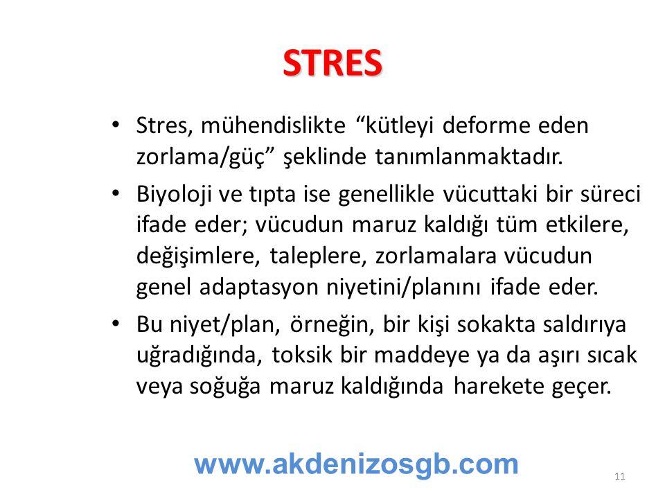 """STRES Stres, mühendislikte """"kütleyi deforme eden zorlama/güç"""" şeklinde tanımlanmaktadır. Biyoloji ve tıpta ise genellikle vücuttaki bir süreci ifade e"""