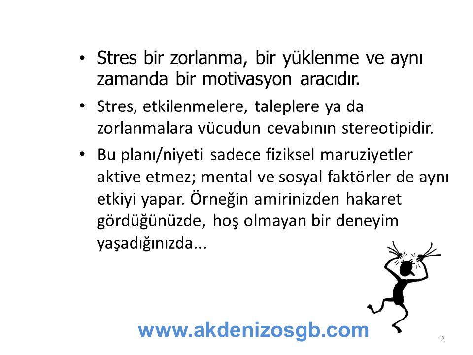 Stres bir zorlanma, bir yüklenme ve aynı zamanda bir motivasyon aracıdır. Stres, etkilenmelere, taleplere ya da zorlanmalara vücudun cevabının stereot