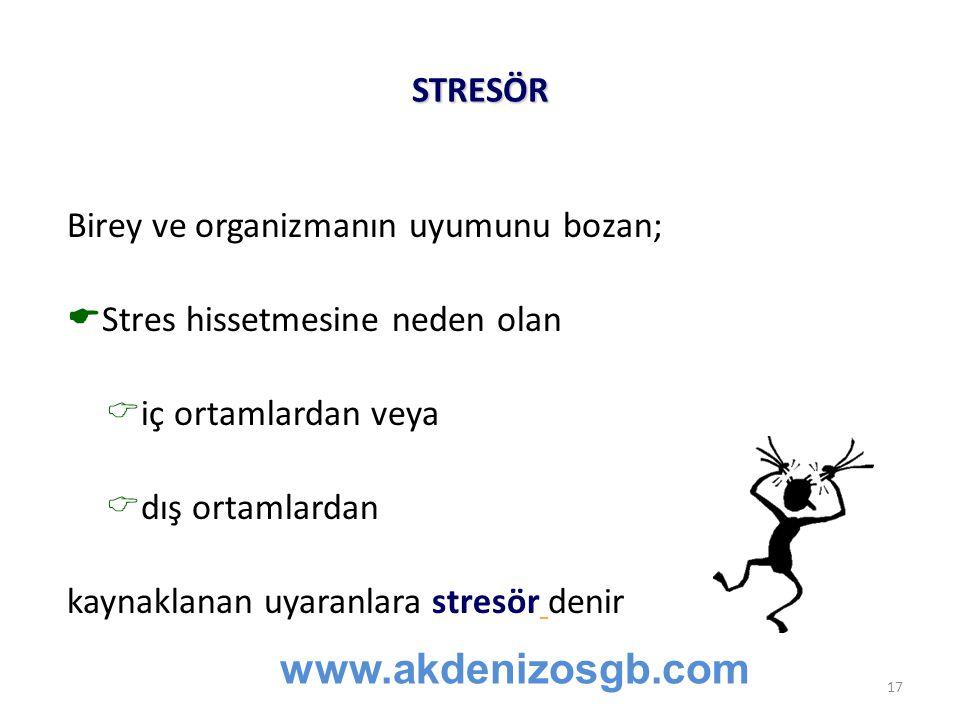 STRESÖR Birey ve organizmanın uyumunu bozan;  Stres hissetmesine neden olan  iç ortamlardan veya  dış ortamlardan kaynaklanan uyaranlara stresör denir www.akdenizosgb.com 17