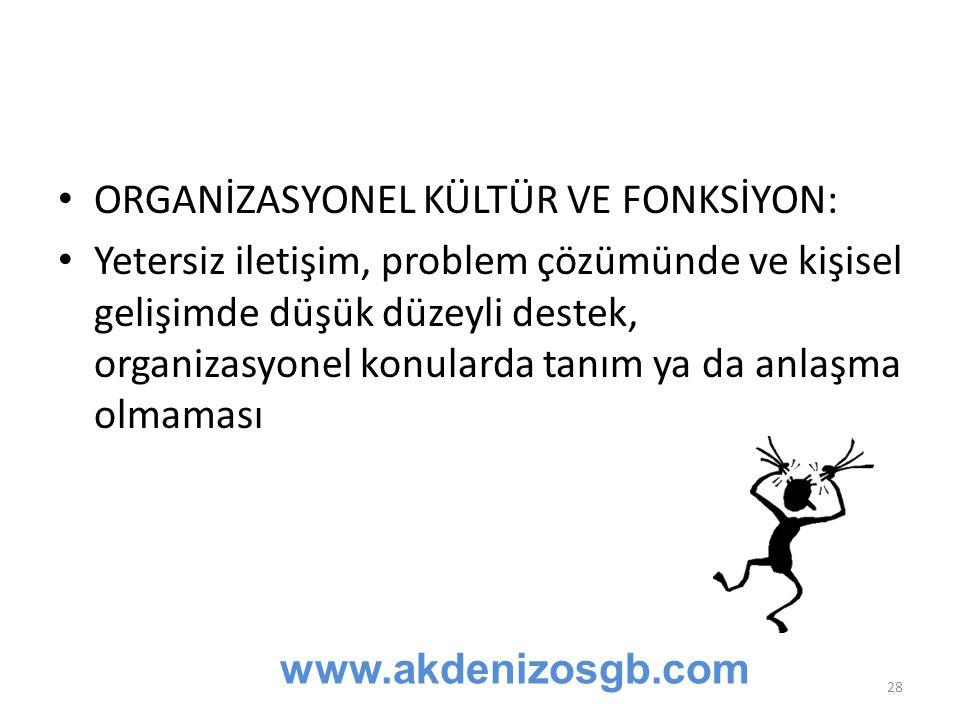 ORGANİZASYONEL KÜLTÜR VE FONKSİYON: Yetersiz iletişim, problem çözümünde ve kişisel gelişimde düşük düzeyli destek, organizasyonel konularda tanım ya da anlaşma olmaması www.akdenizosgb.com 28