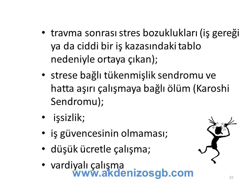 travma sonrası stres bozuklukları (iş gereği ya da ciddi bir iş kazasındaki tablo nedeniyle ortaya çıkan); strese bağlı tükenmişlik sendromu ve hatta