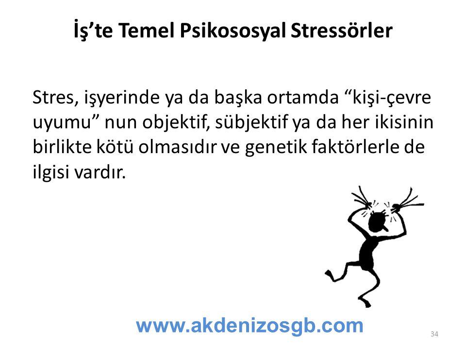 """İş'te Temel Psikososyal Stressörler Stres, işyerinde ya da başka ortamda """"kişi-çevre uyumu"""" nun objektif, sübjektif ya da her ikisinin birlikte kötü o"""
