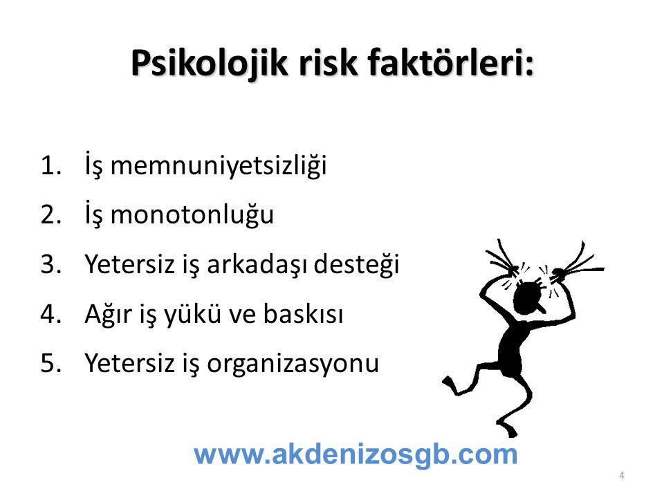Psikolojik risk faktörleri: 1.İş memnuniyetsizliği 2.İş monotonluğu 3.Yetersiz iş arkadaşı desteği 4.Ağır iş yükü ve baskısı 5.Yetersiz iş organizasyo