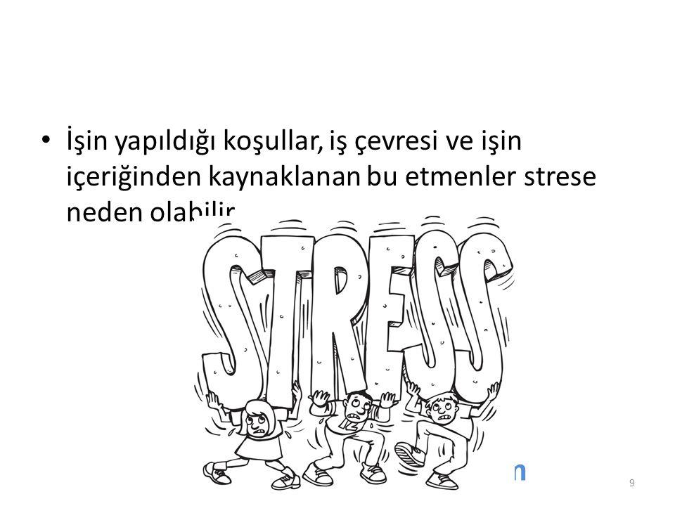 İşin yapıldığı koşullar, iş çevresi ve işin içeriğinden kaynaklanan bu etmenler strese neden olabilir. www.akdenizosgb.com 9