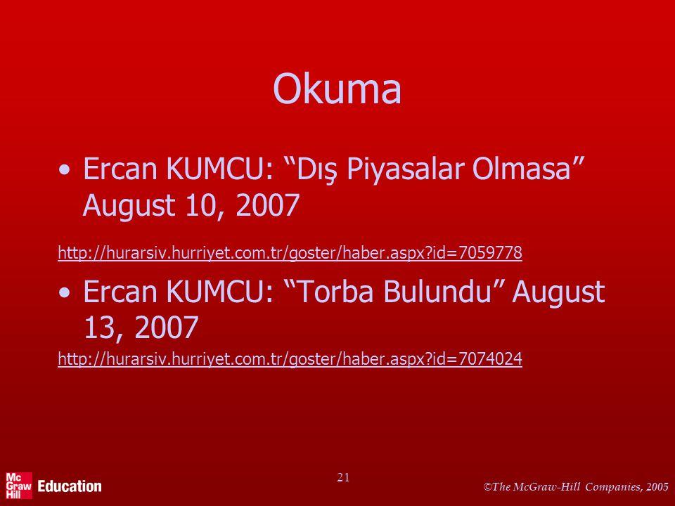 "© The McGraw-Hill Companies, 2005 21 Okuma Ercan KUMCU: ""Dış Piyasalar Olmasa"" August 10, 2007 http://hurarsiv.hurriyet.com.tr/goster/haber.aspx?id=70"