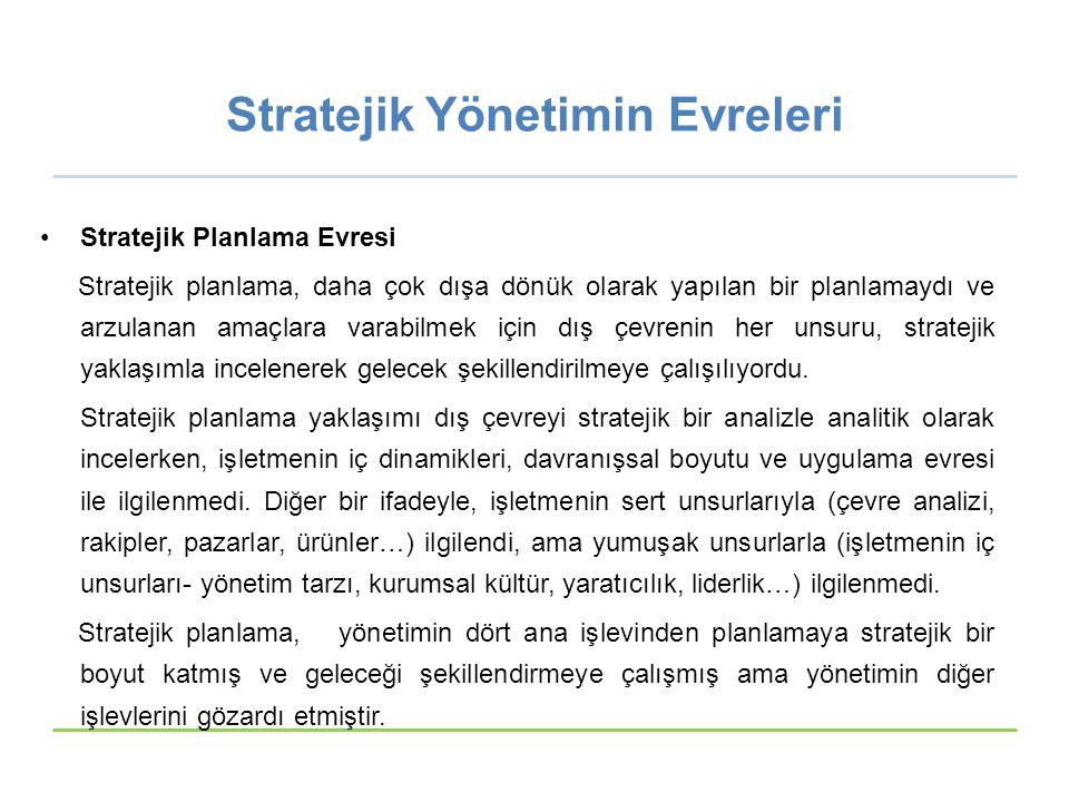 Stratejik Yönetimin Evreleri Stratejik Planlama Evresi Stratejik planlama, daha çok dışa dönük olarak yapılan bir planlamaydı ve arzulanan amaçlara va