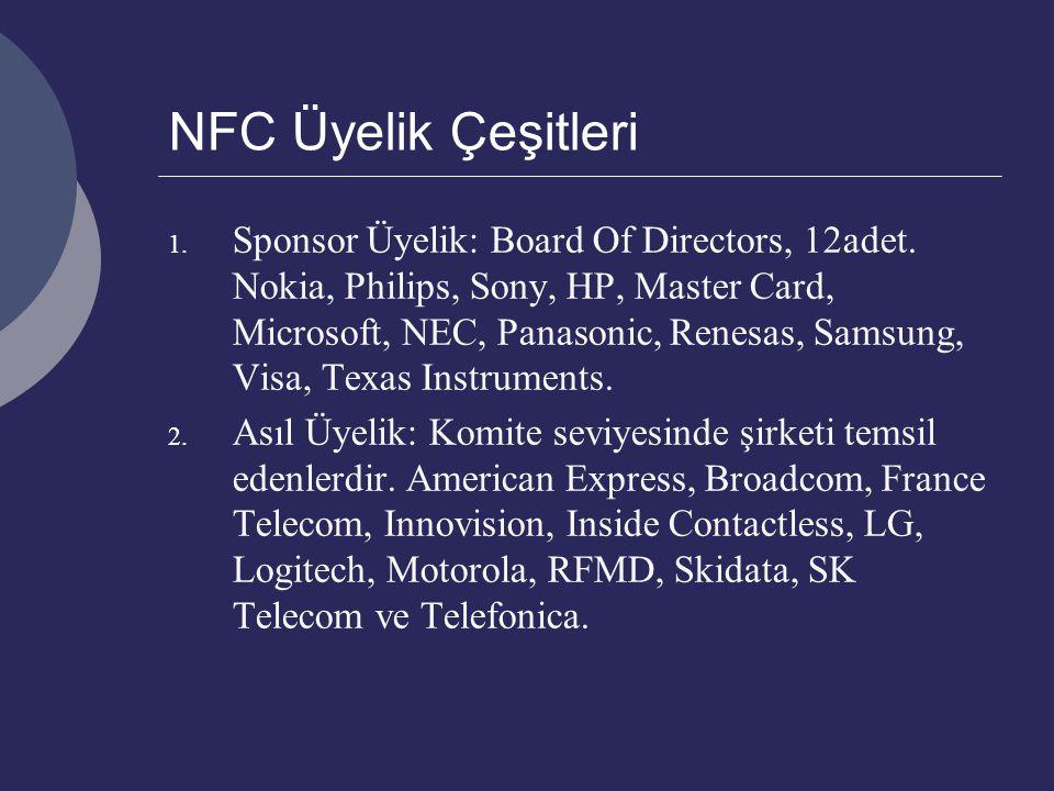 NFC Üyelik Çeşitleri 1. Sponsor Üyelik: Board Of Directors, 12adet. Nokia, Philips, Sony, HP, Master Card, Microsoft, NEC, Panasonic, Renesas, Samsung