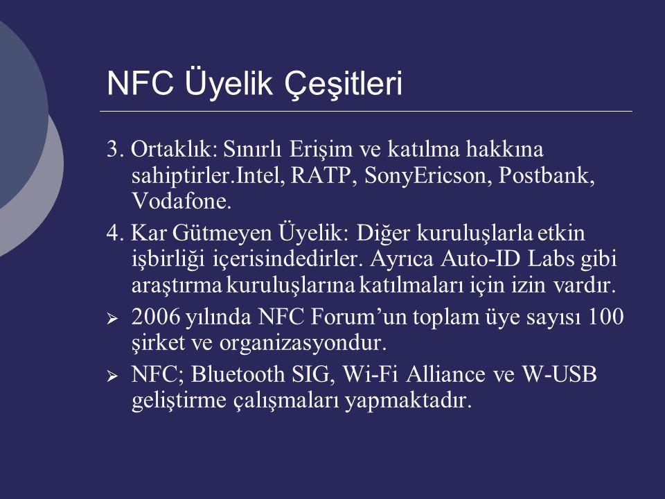 NFC Üyelik Çeşitleri 3. Ortaklık: Sınırlı Erişim ve katılma hakkına sahiptirler.Intel, RATP, SonyEricson, Postbank, Vodafone. 4. Kar Gütmeyen Üyelik: