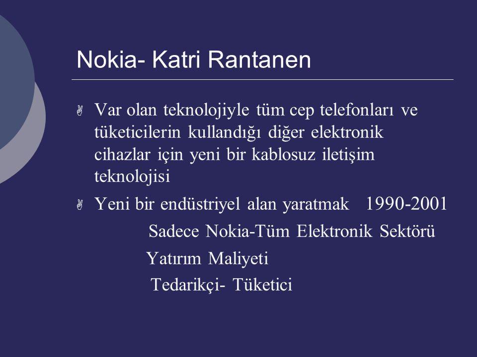 Nokia- Katri Rantanen  Var olan teknolojiyle tüm cep telefonları ve tüketicilerin kullandığı diğer elektronik cihazlar için yeni bir kablosuz iletişim teknolojisi  Yeni bir endüstriyel alan yaratmak 1990-2001 Sadece Nokia-Tüm Elektronik Sektörü Yatırım Maliyeti Tedarikçi- Tüketici