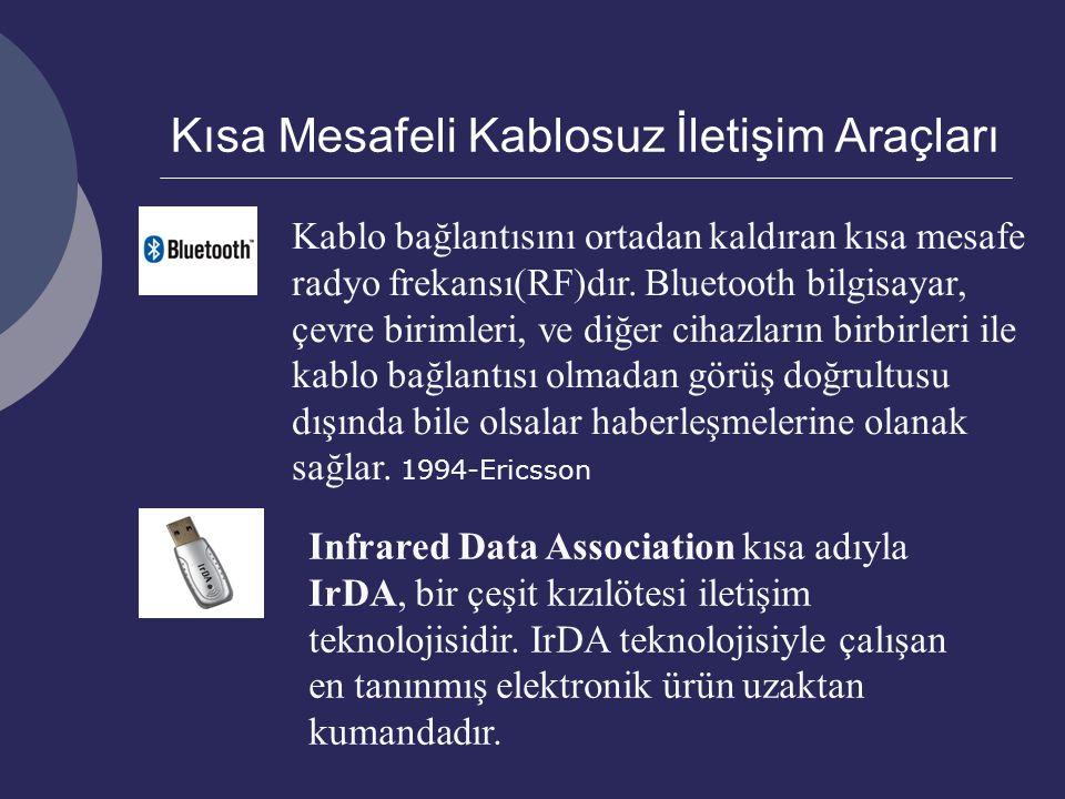 Kısa Mesafeli Kablosuz İletişim Araçları Kablo bağlantısını ortadan kaldıran kısa mesafe radyo frekansı(RF)dır.
