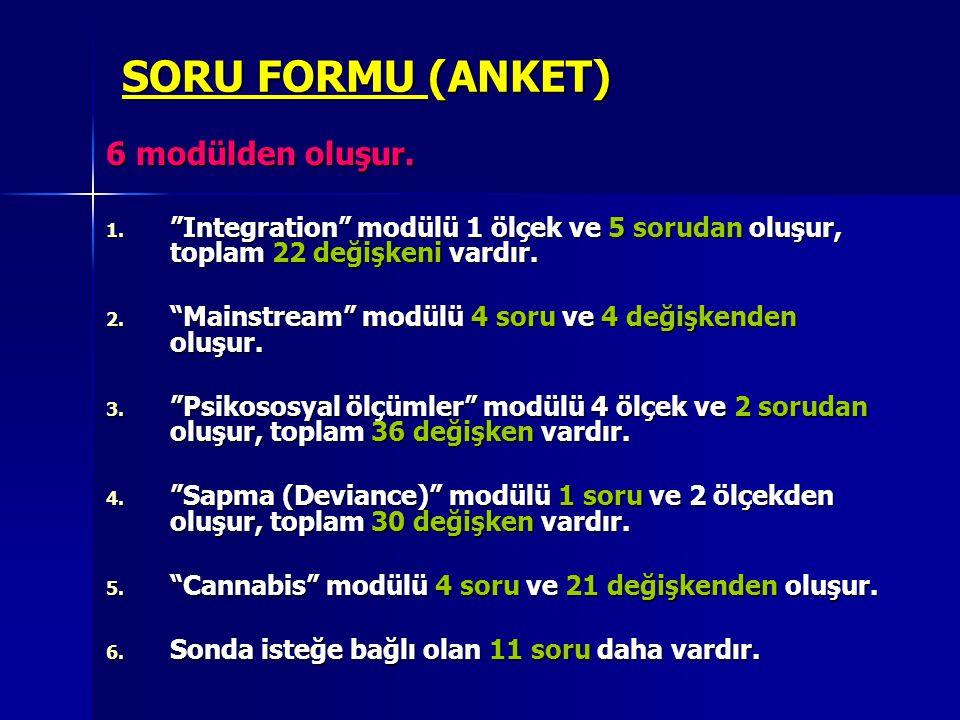 """SORU FORMU (ANKET) 6 modülden oluşur. 1. """"Integration"""" modülü 1 ölçek ve 5 sorudan oluşur, toplam 22 değişkeni vardır. 2. """"Mainstream"""" modülü 4 soru v"""
