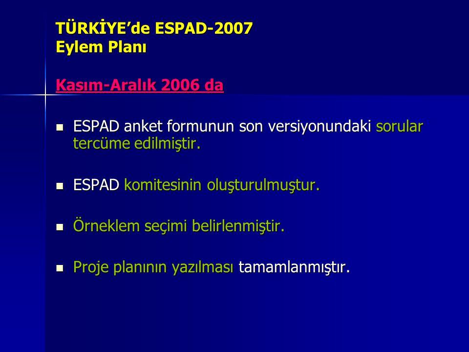 TÜRKİYE'de ESPAD-2007 Eylem Planı Kasım-Aralık 2006 da ESPAD anket formunun son versiyonundaki sorular tercüme edilmiştir. ESPAD anket formunun son ve