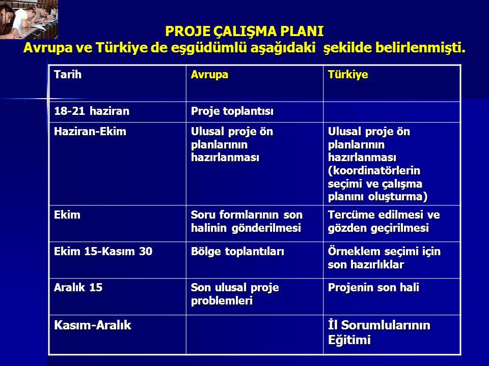 PROJE ÇALIŞMA PLANI Avrupa ve Türkiye de eşgüdümlü aşağıdaki şekilde belirlenmişti. TarihAvrupaTürkiye 18-21 haziran Proje toplantısı Haziran-Ekim Ulu