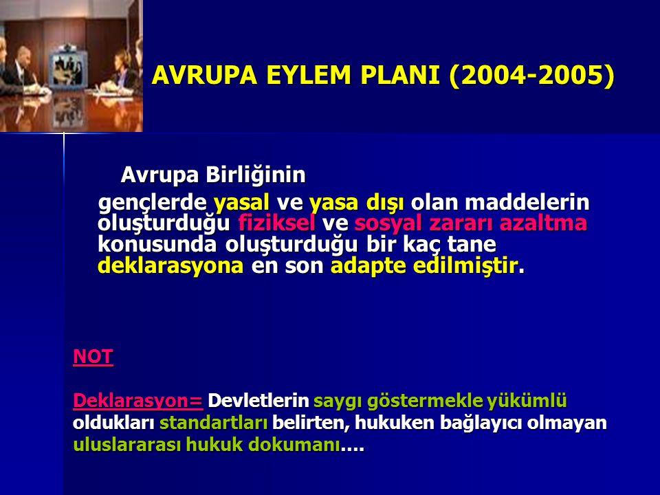 AVRUPA EYLEM PLANI (2004-2005) Avrupa Birliğinin Avrupa Birliğinin gençlerde yasal ve yasa dışı olan maddelerin oluşturduğu fiziksel ve sosyal zararı