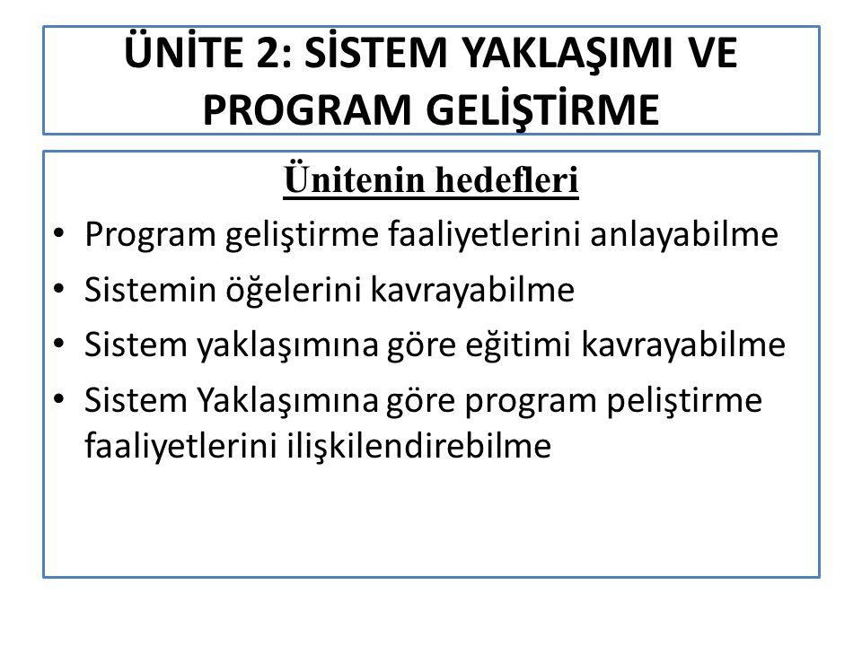 ÜNİTE 2: SİSTEM YAKLAŞIMI VE PROGRAM GELİŞTİRME Ünitenin hedefleri Program geliştirme faaliyetlerini anlayabilme Sistemin öğelerini kavrayabilme Sistem yaklaşımına göre eğitimi kavrayabilme Sistem Yaklaşımına göre program peliştirme faaliyetlerini ilişkilendirebilme