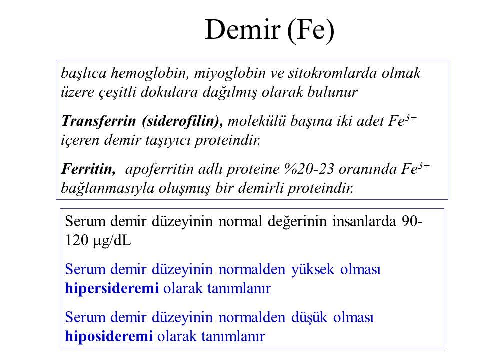 Demir (Fe) başlıca hemoglobin, miyoglobin ve sitokromlarda olmak üzere çeşitli dokulara dağılmış olarak bulunur Transferrin (siderofilin), molekülü başına iki adet Fe 3+ içeren demir taşıyıcı proteindir.