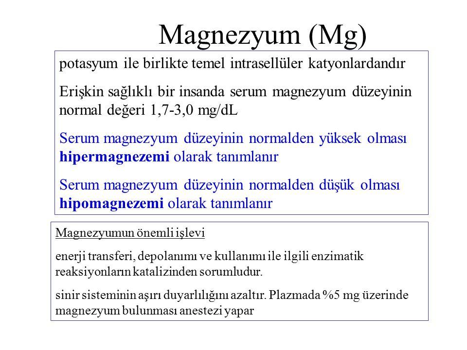 Magnezyum (Mg) potasyum ile birlikte temel intrasellüler katyonlardandır Erişkin sağlıklı bir insanda serum magnezyum düzeyinin normal değeri 1,7-3,0 mg/dL Serum magnezyum düzeyinin normalden yüksek olması hipermagnezemi olarak tanımlanır Serum magnezyum düzeyinin normalden düşük olması hipomagnezemi olarak tanımlanır Magnezyumun önemli işlevi enerji transferi, depolanımı ve kullanımı ile ilgili enzimatik reaksiyonların katalizinden sorumludur.