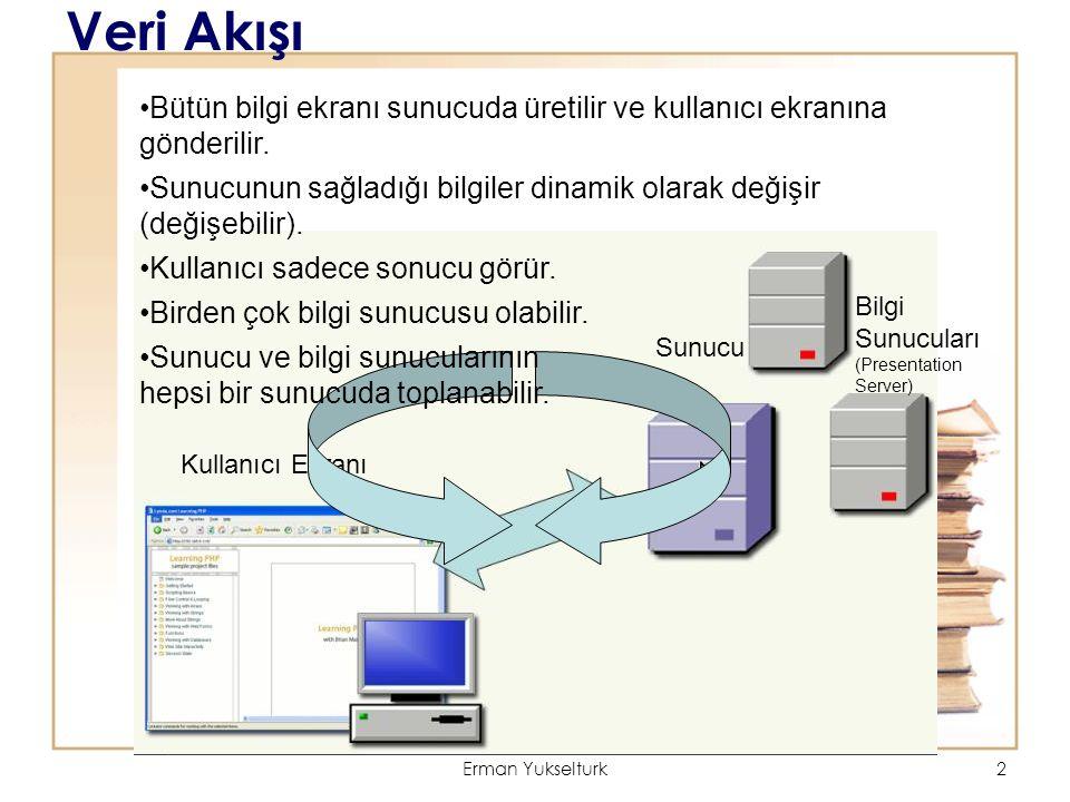 Erman Yukselturk2 Veri Akışı Kullanıcı Ekranı Sunucu Bilgi Sunucuları (Presentation Server) Bütün bilgi ekranı sunucuda üretilir ve kullanıcı ekranına