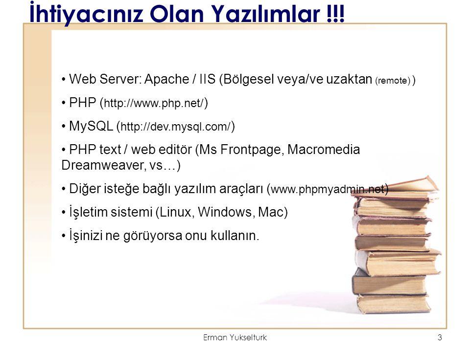 Erman Yukselturk3 İhtiyacınız Olan Yazılımlar !!! Web Server: Apache / IIS (Bölgesel veya/ve uzaktan (remote) ) PHP ( http://www.php.net/ ) MySQL ( ht