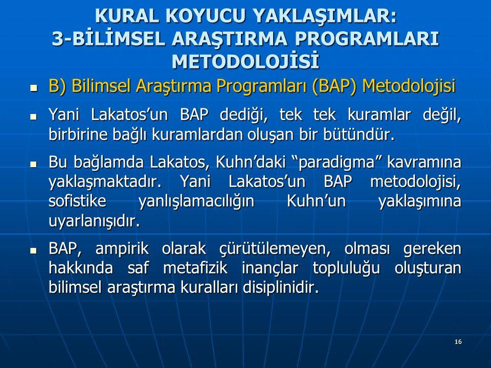 16 KURAL KOYUCU YAKLAŞIMLAR: 3-BİLİMSEL ARAŞTIRMA PROGRAMLARI METODOLOJİSİ B) Bilimsel Araştırma Programları (BAP) Metodolojisi B) Bilimsel Araştırma