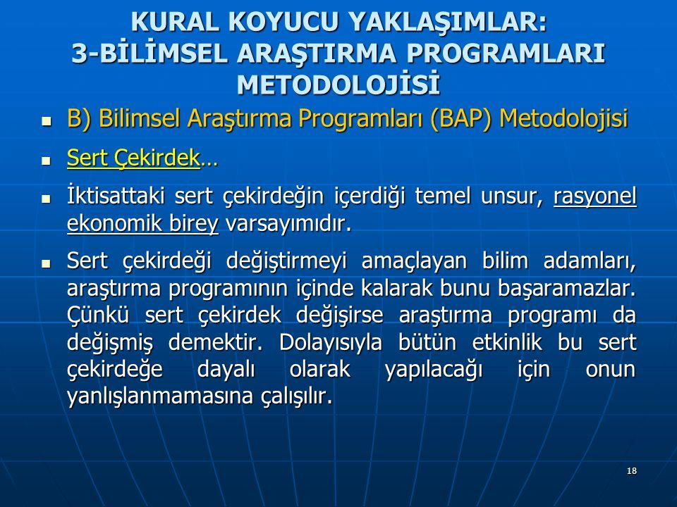 18 KURAL KOYUCU YAKLAŞIMLAR: 3-BİLİMSEL ARAŞTIRMA PROGRAMLARI METODOLOJİSİ B) Bilimsel Araştırma Programları (BAP) Metodolojisi B) Bilimsel Araştırma