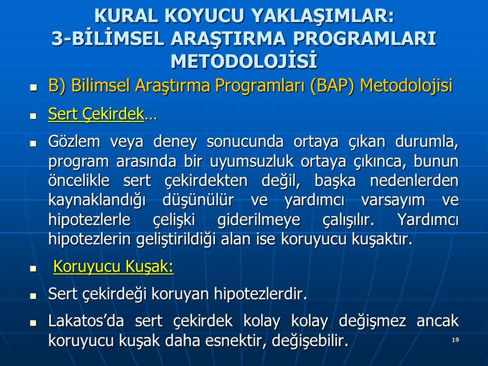 19 KURAL KOYUCU YAKLAŞIMLAR: 3-BİLİMSEL ARAŞTIRMA PROGRAMLARI METODOLOJİSİ B) Bilimsel Araştırma Programları (BAP) Metodolojisi B) Bilimsel Araştırma