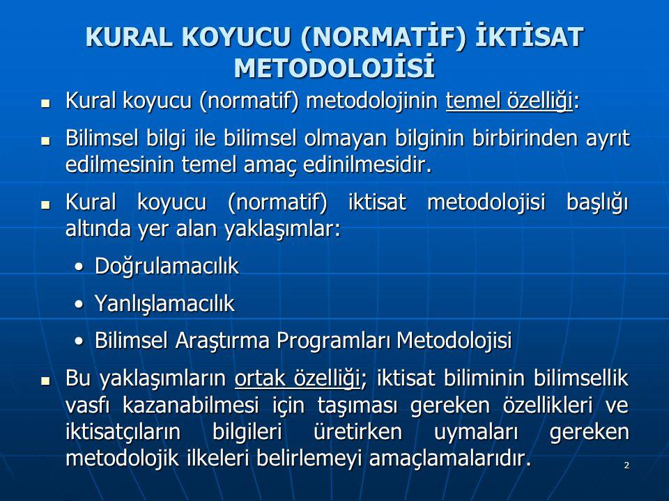 2 KURAL KOYUCU (NORMATİF) İKTİSAT METODOLOJİSİ Kural koyucu (normatif) metodolojinin temel özelliği: Kural koyucu (normatif) metodolojinin temel özelliği: Bilimsel bilgi ile bilimsel olmayan bilginin birbirinden ayrıt edilmesinin temel amaç edinilmesidir.