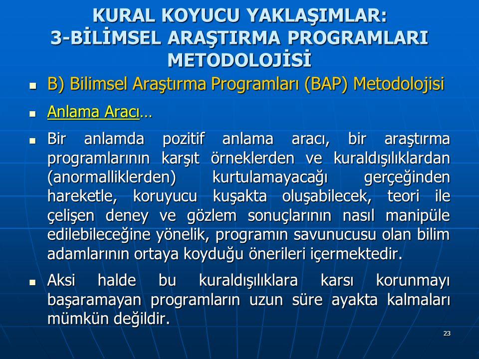 23 KURAL KOYUCU YAKLAŞIMLAR: 3-BİLİMSEL ARAŞTIRMA PROGRAMLARI METODOLOJİSİ B) Bilimsel Araştırma Programları (BAP) Metodolojisi B) Bilimsel Araştırma