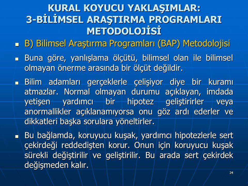 24 KURAL KOYUCU YAKLAŞIMLAR: 3-BİLİMSEL ARAŞTIRMA PROGRAMLARI METODOLOJİSİ B) Bilimsel Araştırma Programları (BAP) Metodolojisi B) Bilimsel Araştırma