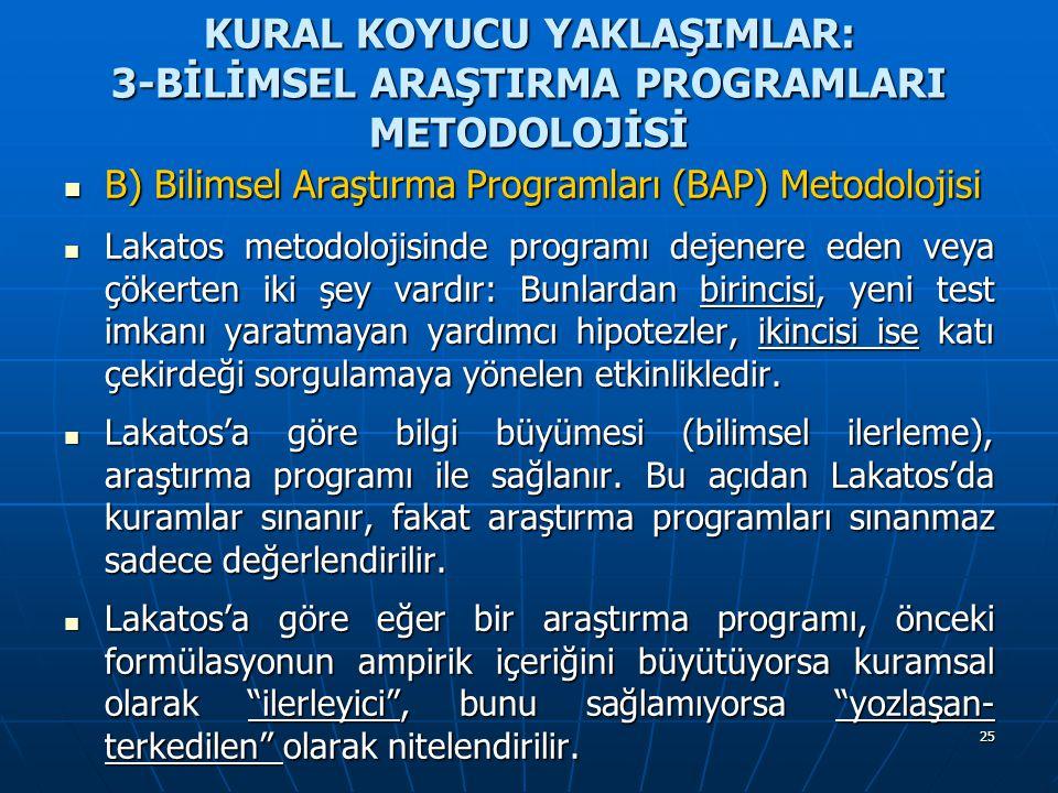 25 KURAL KOYUCU YAKLAŞIMLAR: 3-BİLİMSEL ARAŞTIRMA PROGRAMLARI METODOLOJİSİ B) Bilimsel Araştırma Programları (BAP) Metodolojisi B) Bilimsel Araştırma Programları (BAP) Metodolojisi Lakatos metodolojisinde programı dejenere eden veya çökerten iki şey vardır: Bunlardan birincisi, yeni test imkanı yaratmayan yardımcı hipotezler, ikincisi ise katı çekirdeği sorgulamaya yönelen etkinlikledir.