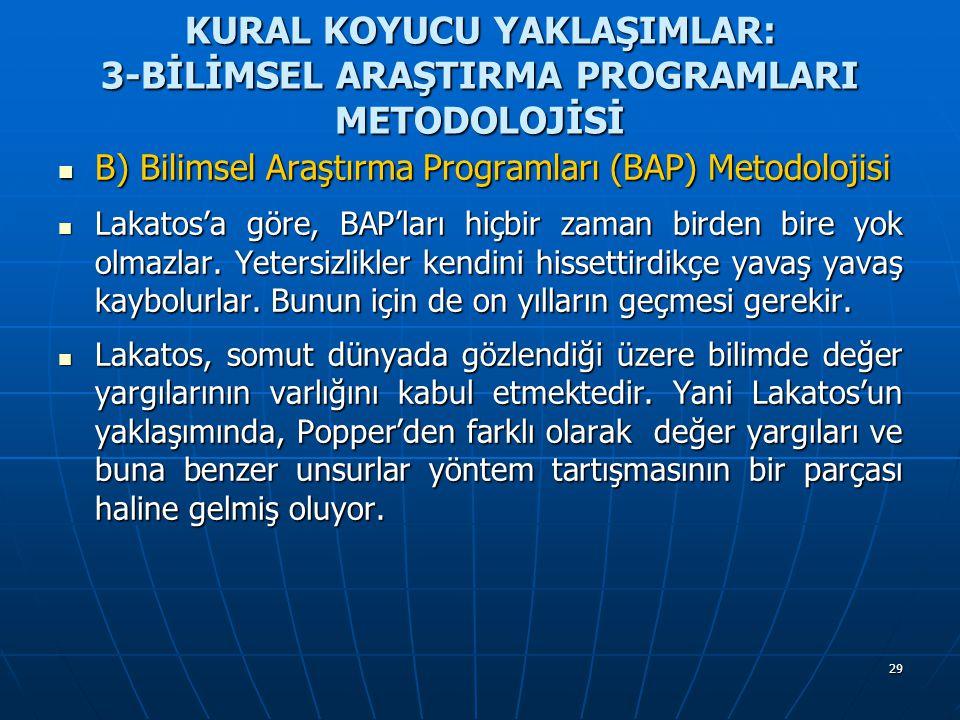 29 KURAL KOYUCU YAKLAŞIMLAR: 3-BİLİMSEL ARAŞTIRMA PROGRAMLARI METODOLOJİSİ B) Bilimsel Araştırma Programları (BAP) Metodolojisi B) Bilimsel Araştırma