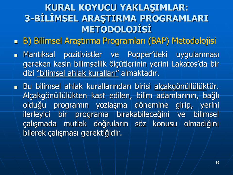 30 KURAL KOYUCU YAKLAŞIMLAR: 3-BİLİMSEL ARAŞTIRMA PROGRAMLARI METODOLOJİSİ B) Bilimsel Araştırma Programları (BAP) Metodolojisi B) Bilimsel Araştırma