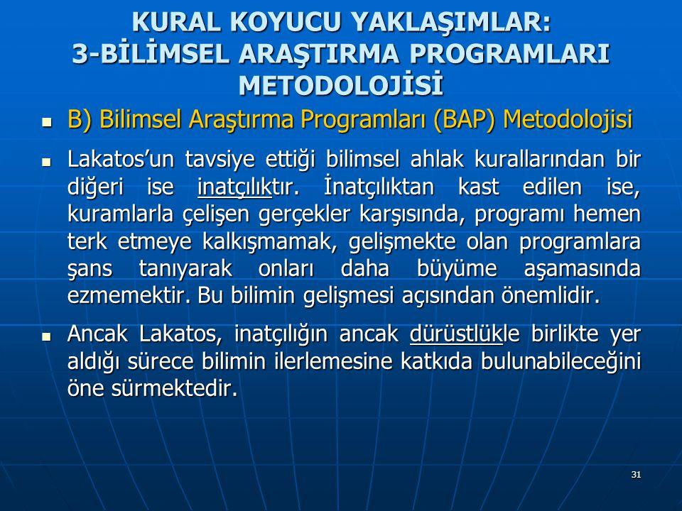 31 KURAL KOYUCU YAKLAŞIMLAR: 3-BİLİMSEL ARAŞTIRMA PROGRAMLARI METODOLOJİSİ B) Bilimsel Araştırma Programları (BAP) Metodolojisi B) Bilimsel Araştırma