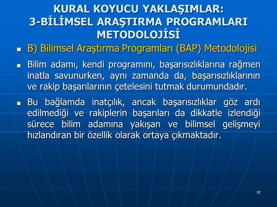 32 KURAL KOYUCU YAKLAŞIMLAR: 3-BİLİMSEL ARAŞTIRMA PROGRAMLARI METODOLOJİSİ B) Bilimsel Araştırma Programları (BAP) Metodolojisi B) Bilimsel Araştırma