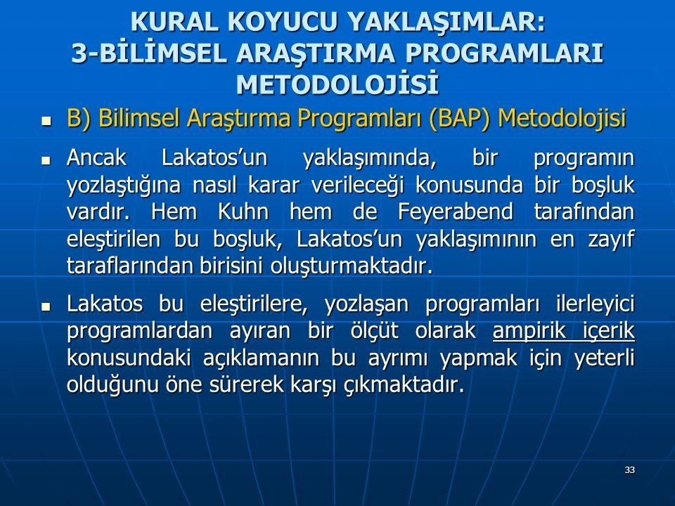 33 KURAL KOYUCU YAKLAŞIMLAR: 3-BİLİMSEL ARAŞTIRMA PROGRAMLARI METODOLOJİSİ B) Bilimsel Araştırma Programları (BAP) Metodolojisi B) Bilimsel Araştırma
