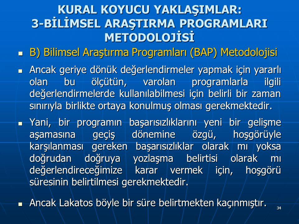 34 KURAL KOYUCU YAKLAŞIMLAR: 3-BİLİMSEL ARAŞTIRMA PROGRAMLARI METODOLOJİSİ B) Bilimsel Araştırma Programları (BAP) Metodolojisi B) Bilimsel Araştırma