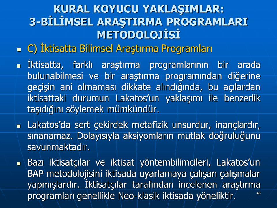 40 KURAL KOYUCU YAKLAŞIMLAR: 3-BİLİMSEL ARAŞTIRMA PROGRAMLARI METODOLOJİSİ C) İktisatta Bilimsel Araştırma Programları C) İktisatta Bilimsel Araştırma