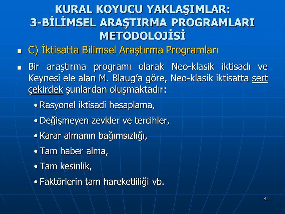 41 KURAL KOYUCU YAKLAŞIMLAR: 3-BİLİMSEL ARAŞTIRMA PROGRAMLARI METODOLOJİSİ C) İktisatta Bilimsel Araştırma Programları C) İktisatta Bilimsel Araştırma Programları Bir araştırma programı olarak Neo-klasik iktisadı ve Keynesi ele alan M.