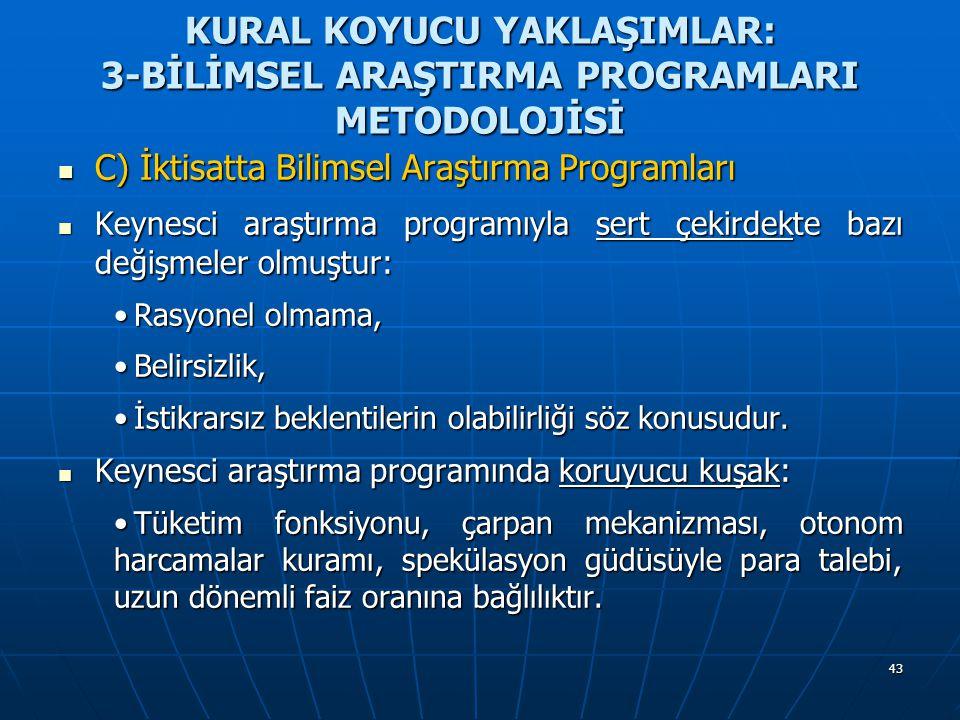 43 KURAL KOYUCU YAKLAŞIMLAR: 3-BİLİMSEL ARAŞTIRMA PROGRAMLARI METODOLOJİSİ C) İktisatta Bilimsel Araştırma Programları C) İktisatta Bilimsel Araştırma