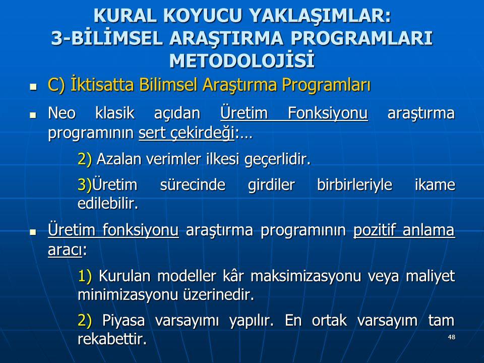 48 KURAL KOYUCU YAKLAŞIMLAR: 3-BİLİMSEL ARAŞTIRMA PROGRAMLARI METODOLOJİSİ C) İktisatta Bilimsel Araştırma Programları C) İktisatta Bilimsel Araştırma